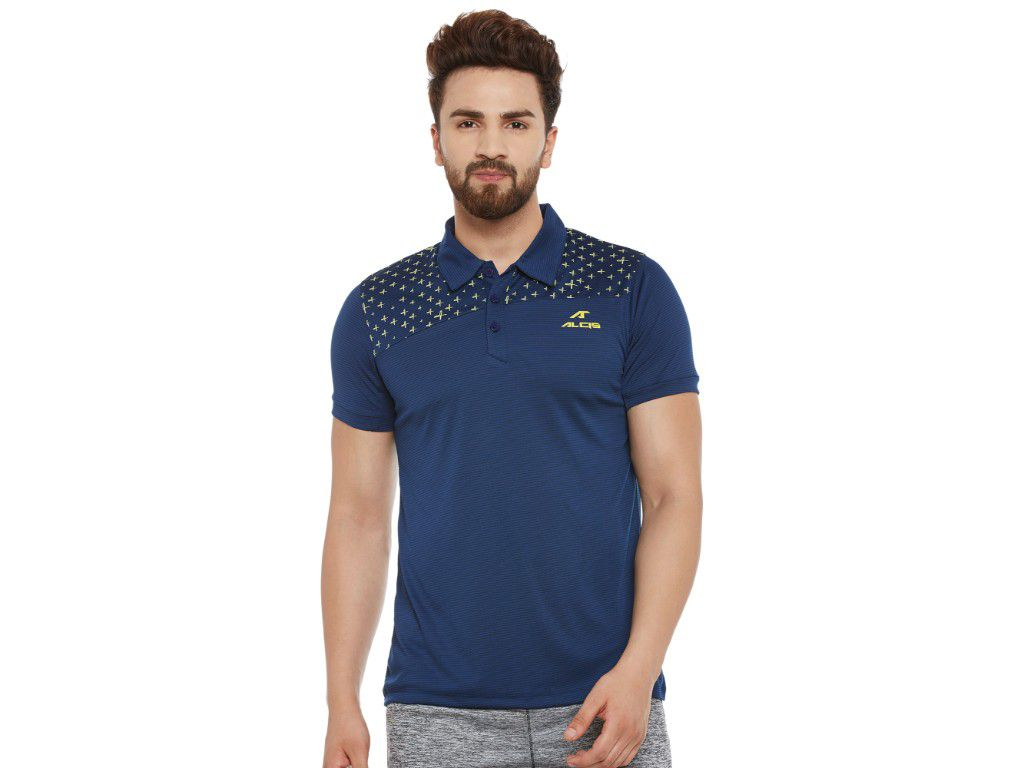 Alcis Mens Blue Solid Polo Tshirt