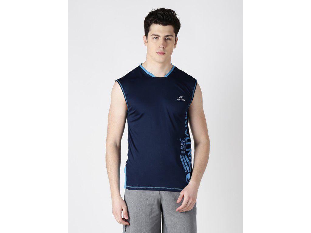 Alcis Mens Navy Blue Printed Sleeveless Tshirt