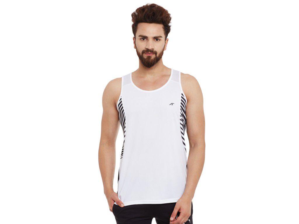 Alcis Mens White Printed Sleeveless Tshirt