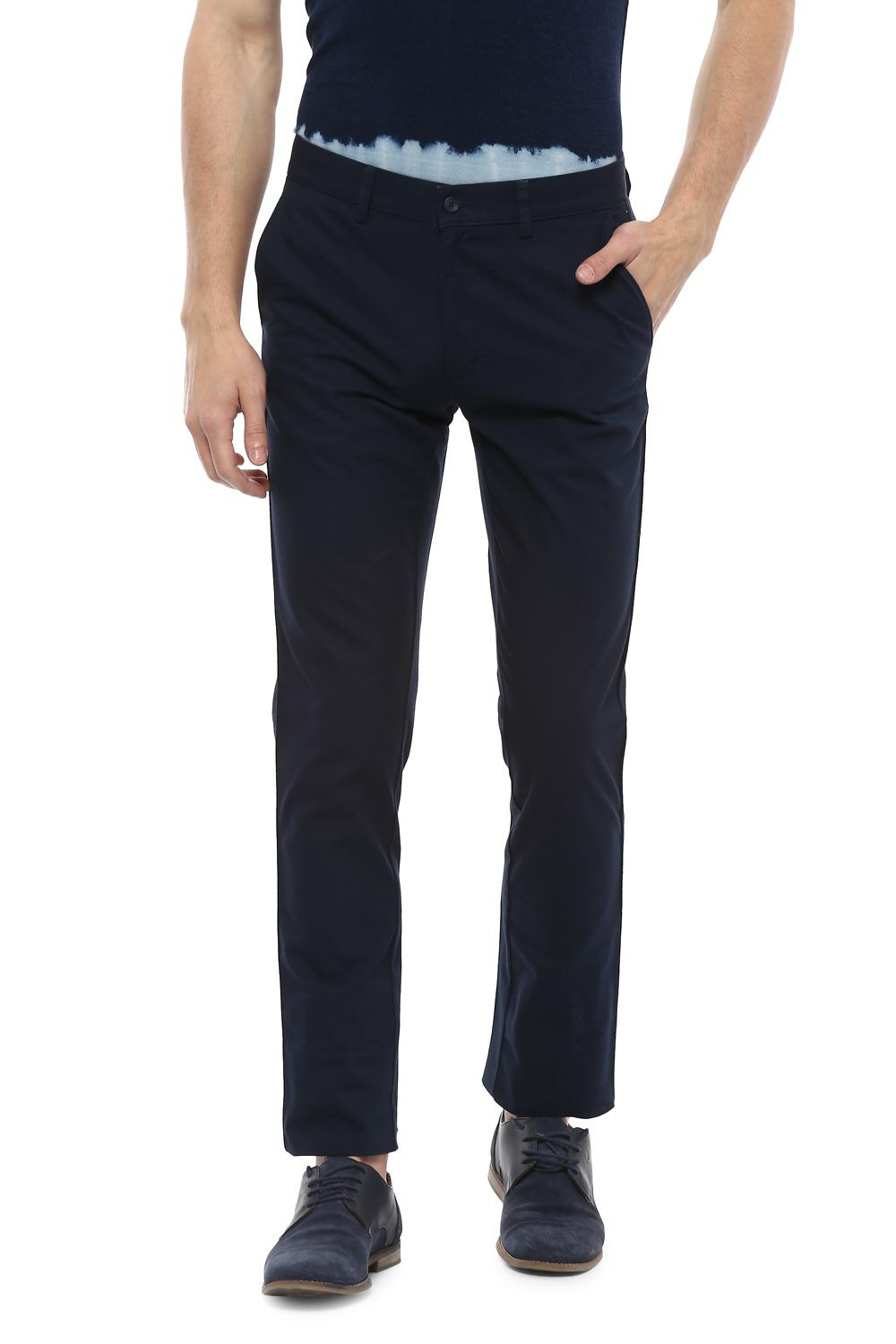 Peter England Blue Skinny -Fit Flat Trousers