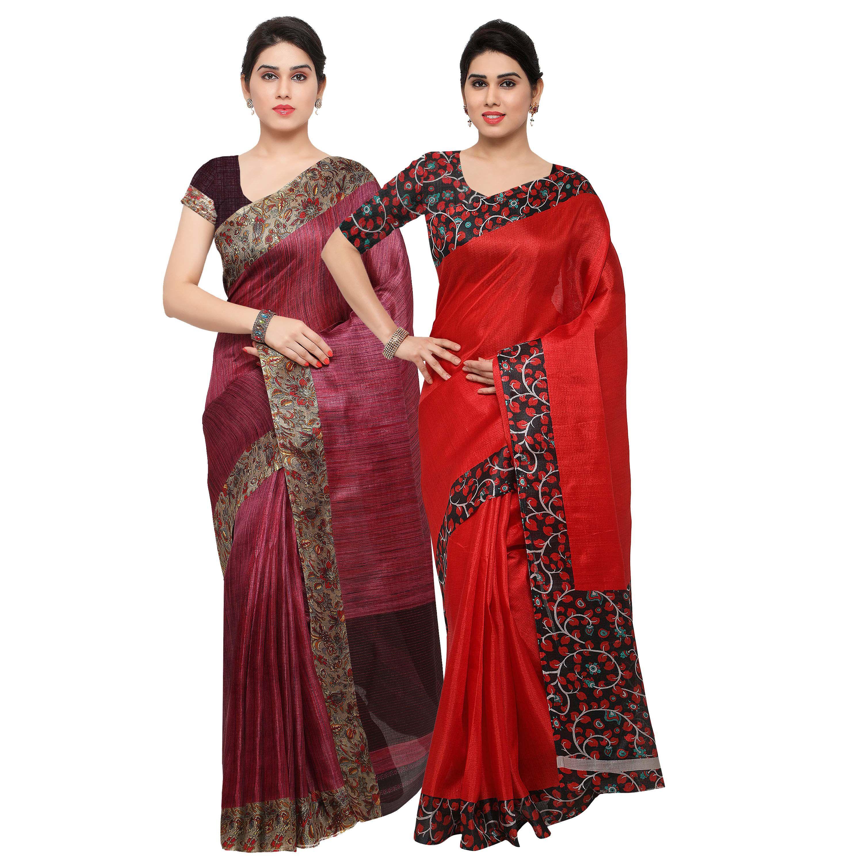 Rajnandini Maroon Tussar Silk Saree Combos