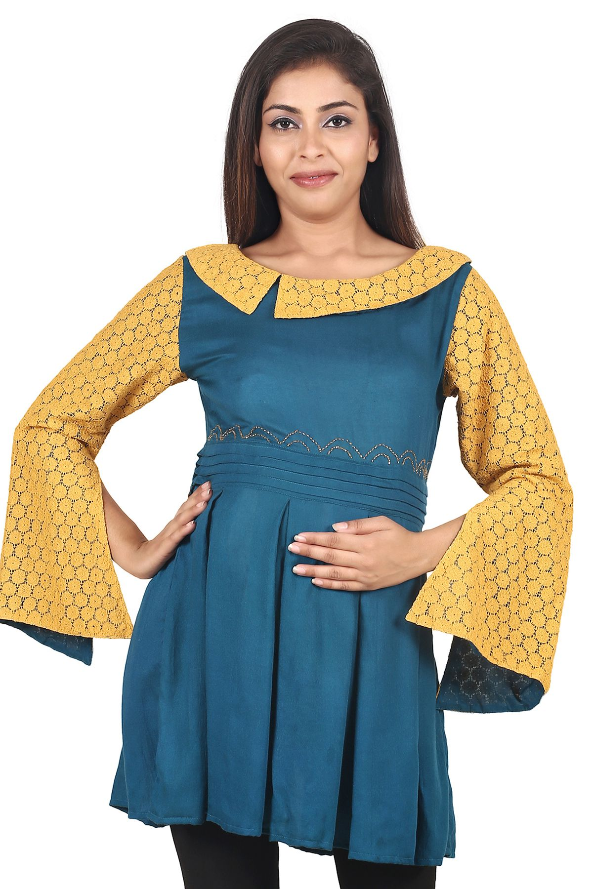 9teenAGAIN Viscose Maternity Blue Tops