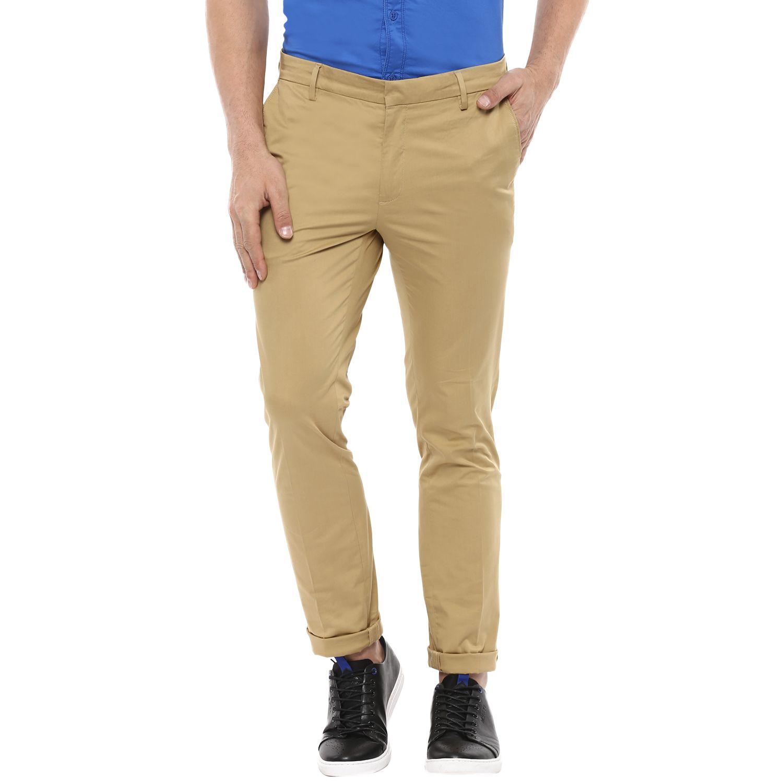 Mufti Beige Regular -Fit Flat Trousers