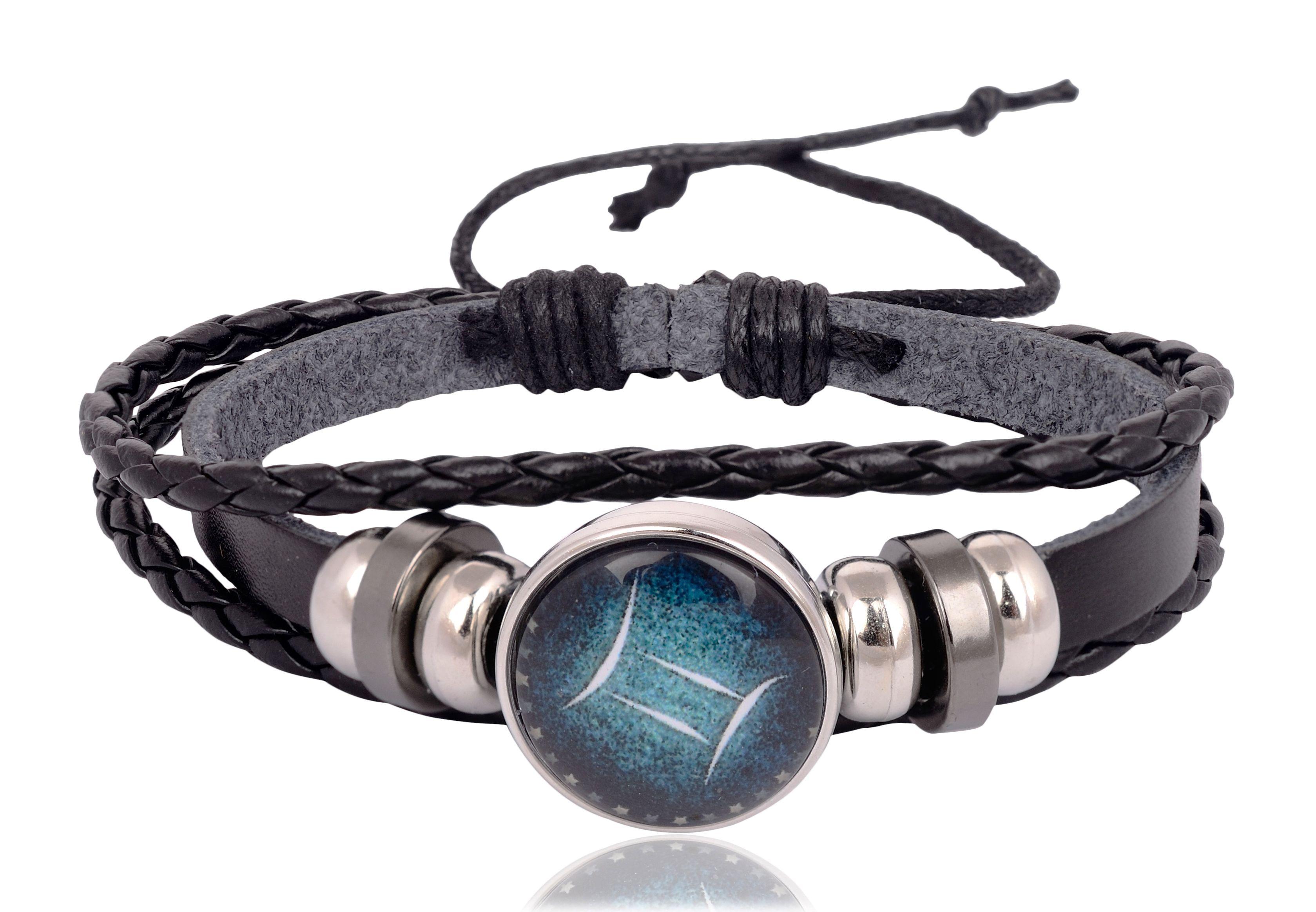 Accessorisingg Zodiac Star Sign Symbol Handmade Genuine Leather Bracelet for Goodluck - Gemini [BR201]