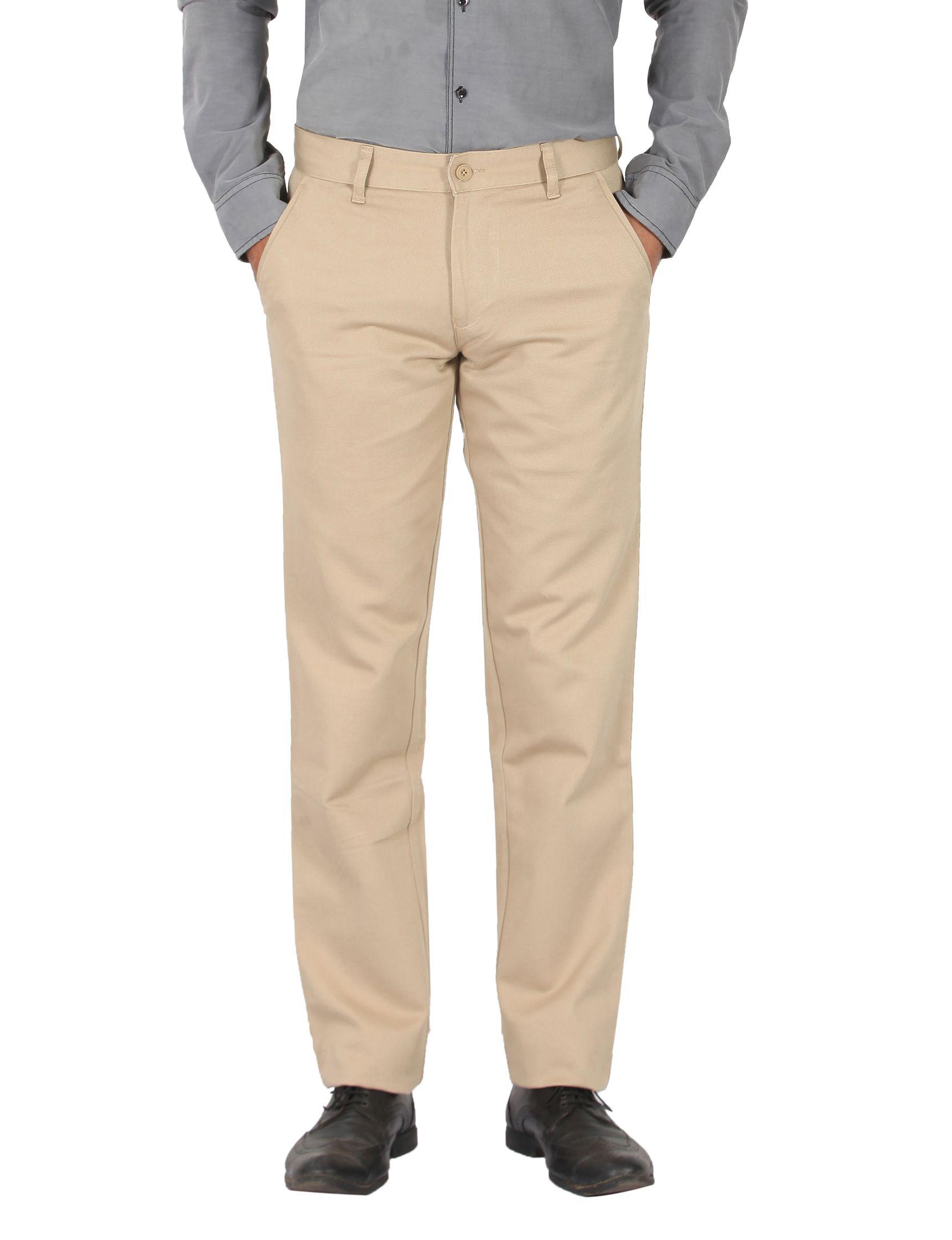Pecos Bill Beige Slim -Fit Flat Trousers