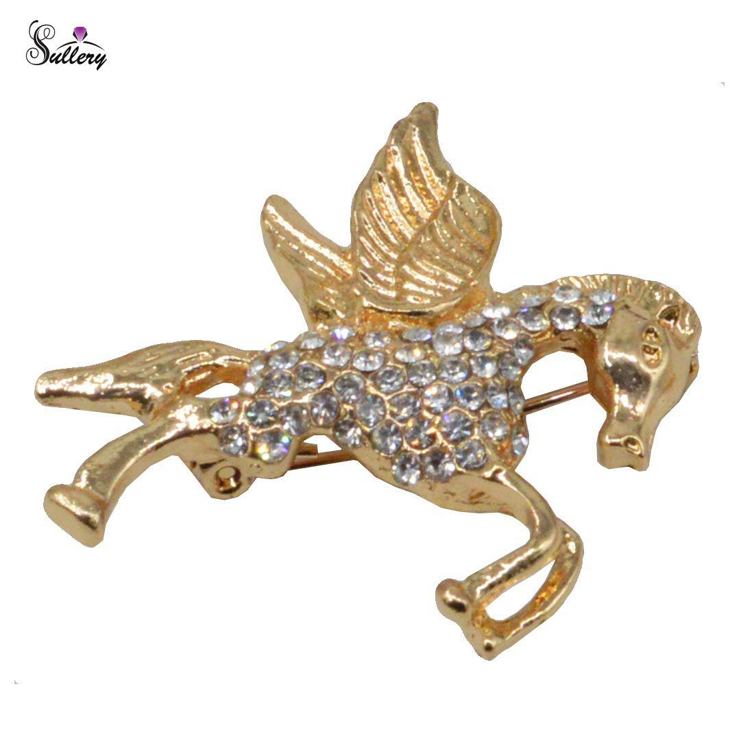Sullery Silver Rhinestone Gold Plated Flying Horse Pegasus Pin Brooch For Men