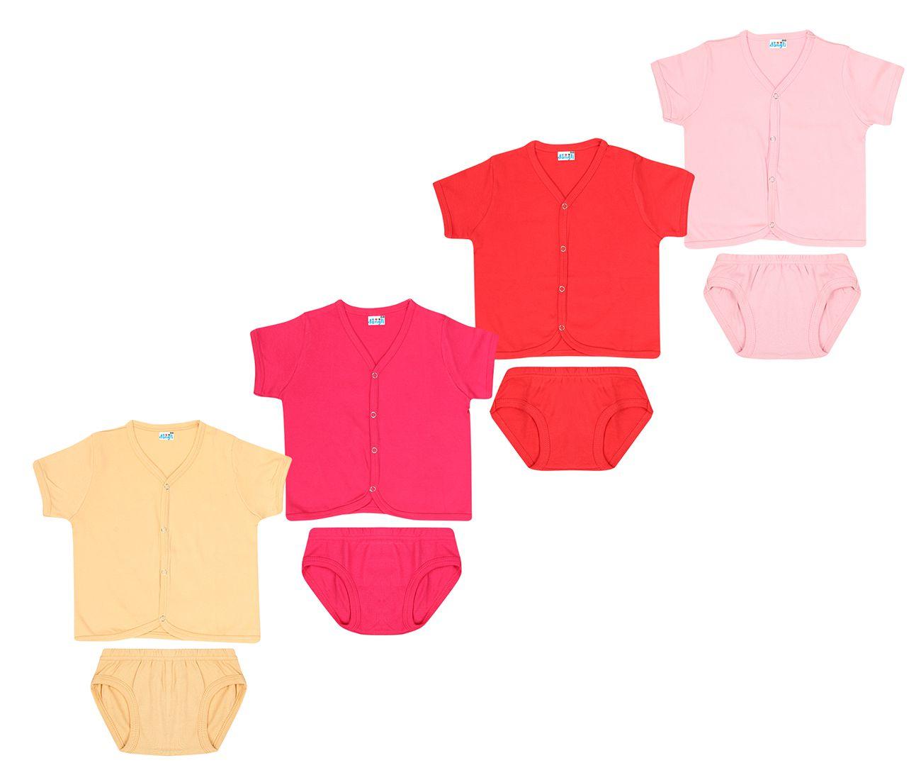 Dongli Unisex Soft Cotton Set Dress (Pack of 4)