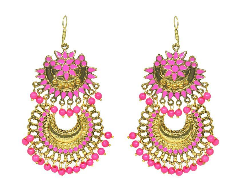 Double Layer Chandbali Earrings Gold Finish Afghani Hook with Enamel work for women
