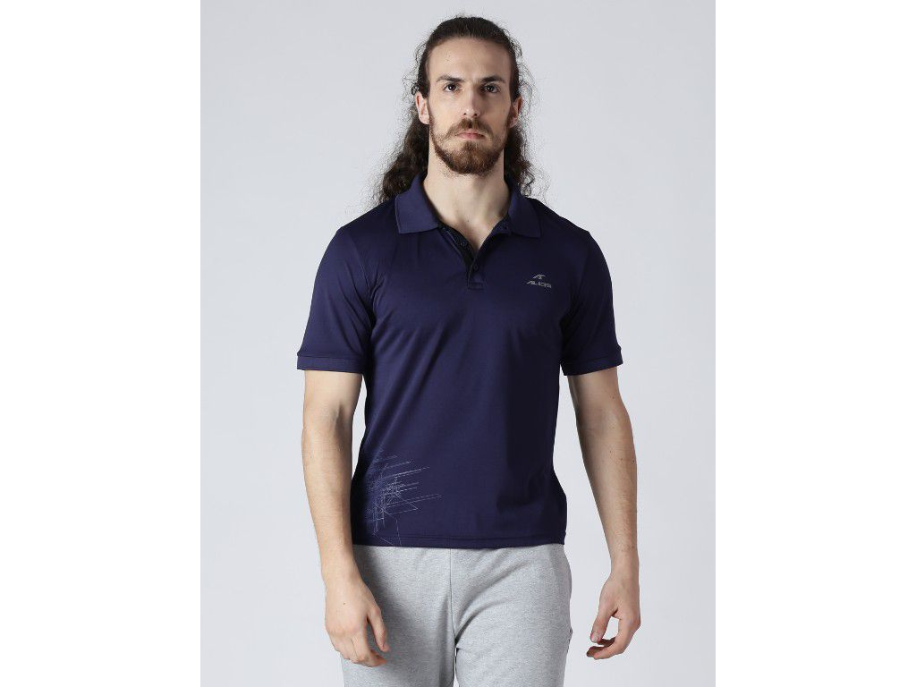 Alcis Mens Printed Navy Polo T-Shirt