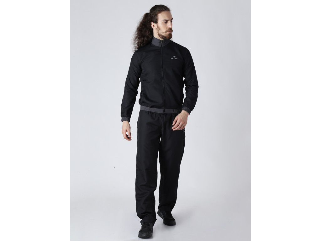 Alcis Mens Solid Black Tracksuit