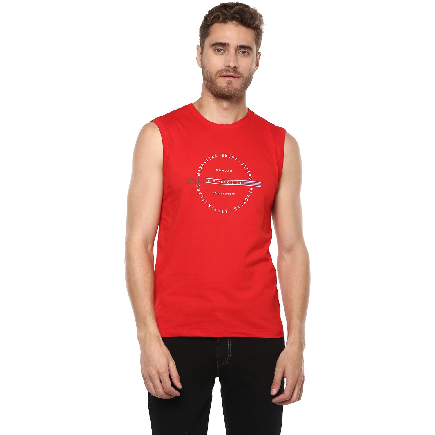 Octave Red Round T-Shirt