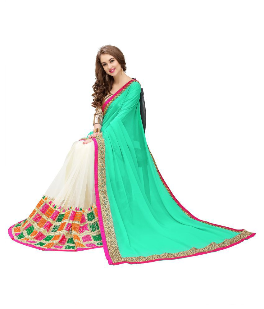 Fab Zone Green Georgette Saree