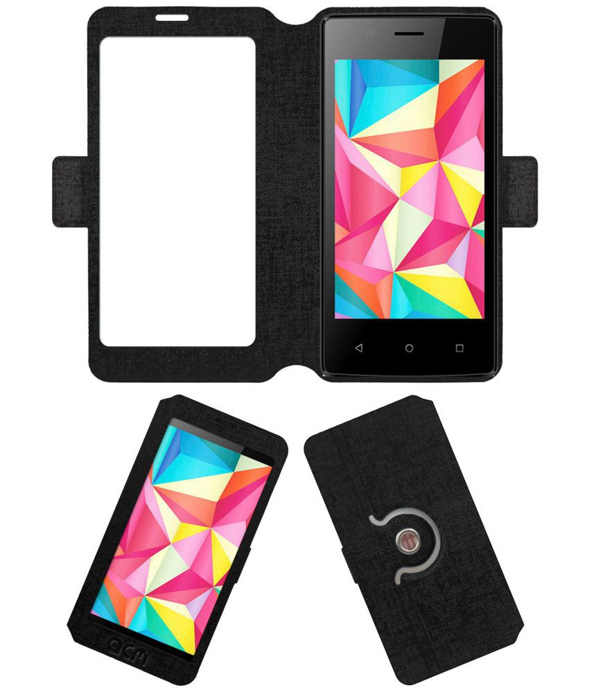 Intex Aqua Wing Flip Cover by ACM - Black