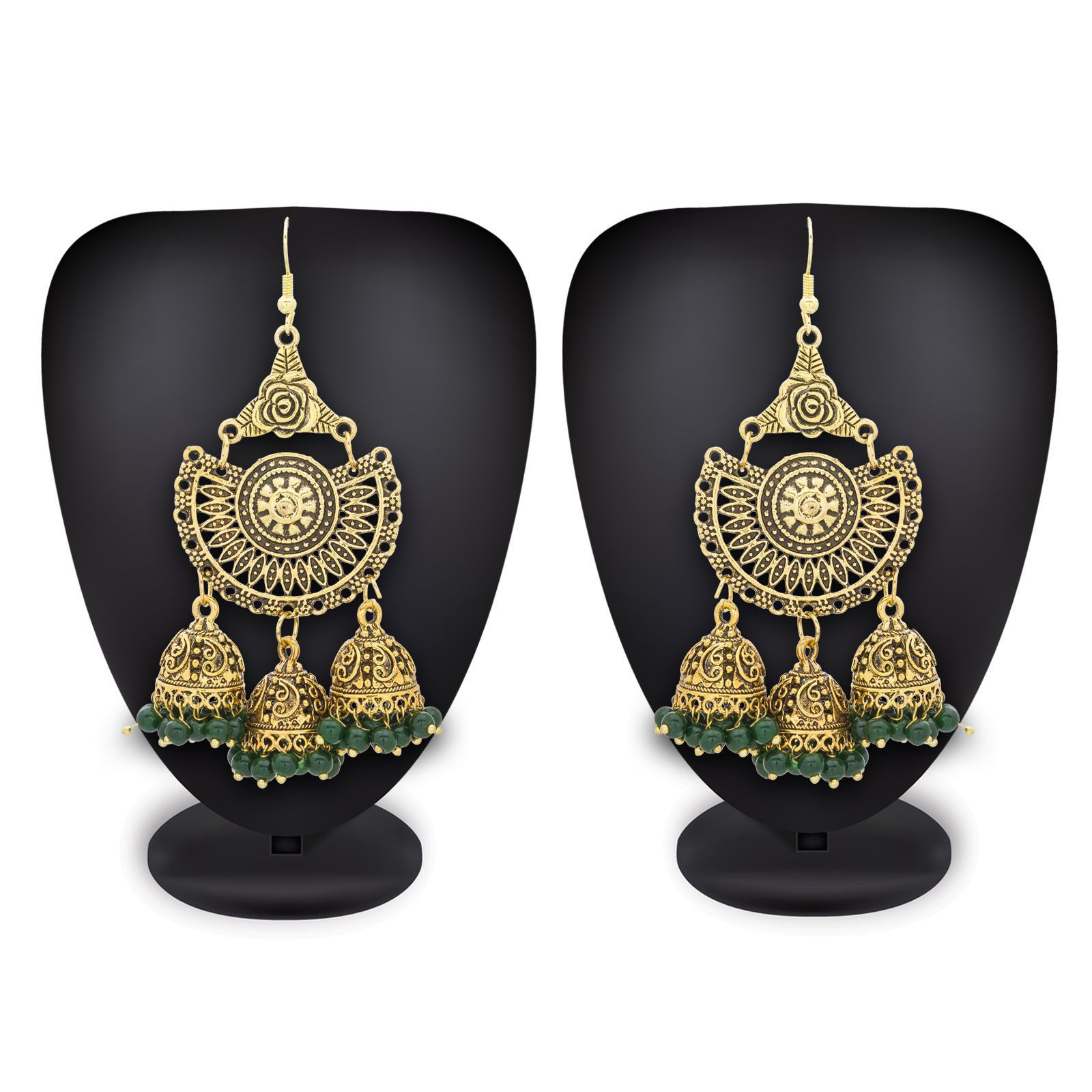 Aadita Ethnic Traditional Gold Plated Alloy Hanging Jhumki Chandbali American Diamond and Pearl Earrings for Women