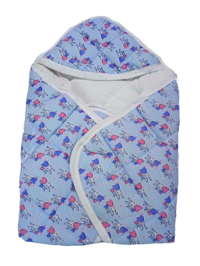 Just Born Blue Cotton Baby Wrap cum blanket ( 65 cm × 60 cm - 1 pcs)