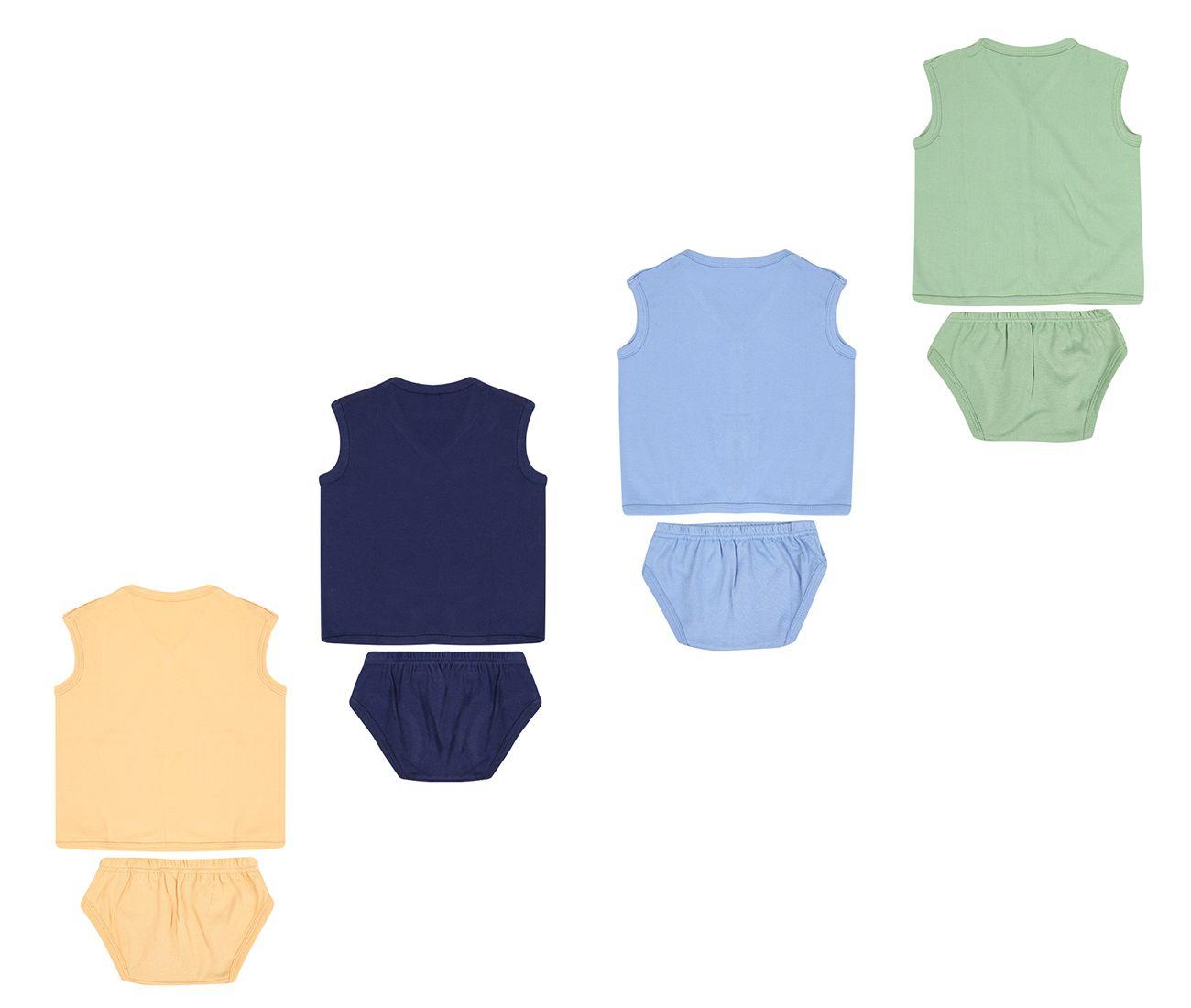 Dongli Unisex Soft Cotton Baby Set Dress (Pack of 4)