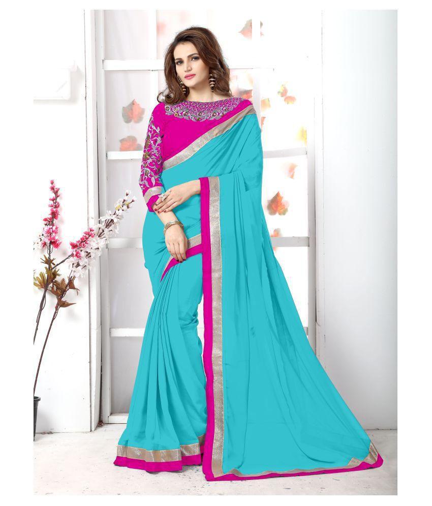 Onlinefayda Pink and Blue Chiffon Saree