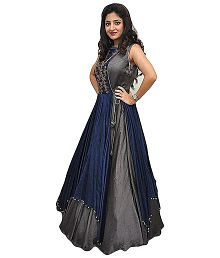 DS Fabs Multicoloured Bangalore Silk Anarkali Gown Semi-Stitched Suit