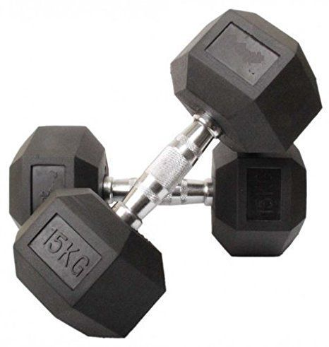 Energie Fitness high quality rubber coated Hexa Dumbbell Weight 30 KG 1 pair  15KG x 2 pieces