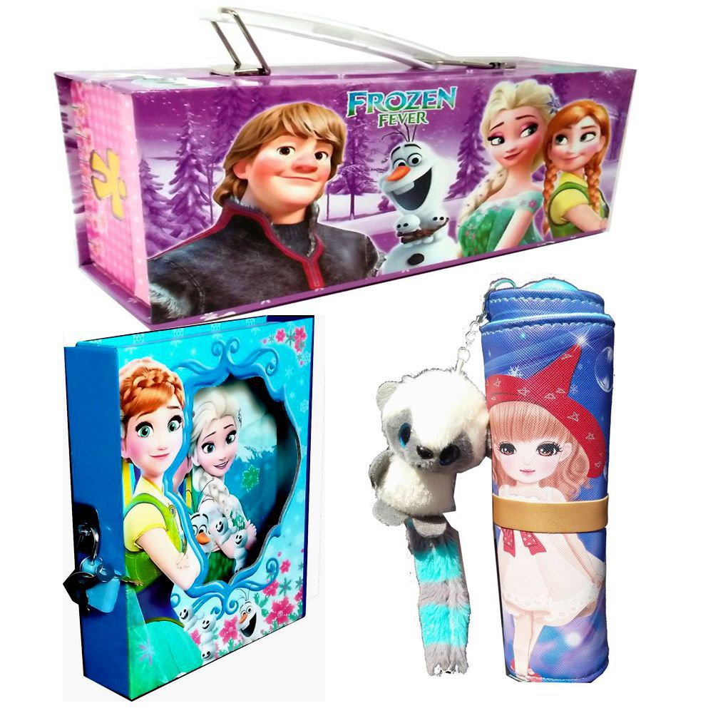 Fairy Frozen Theme Birthday Gift Set For Kids With Jumbo Pencil BoxUnique Jewelry Box Personal Lock Diary And Doll Stationery Pouch Buy Online At Best
