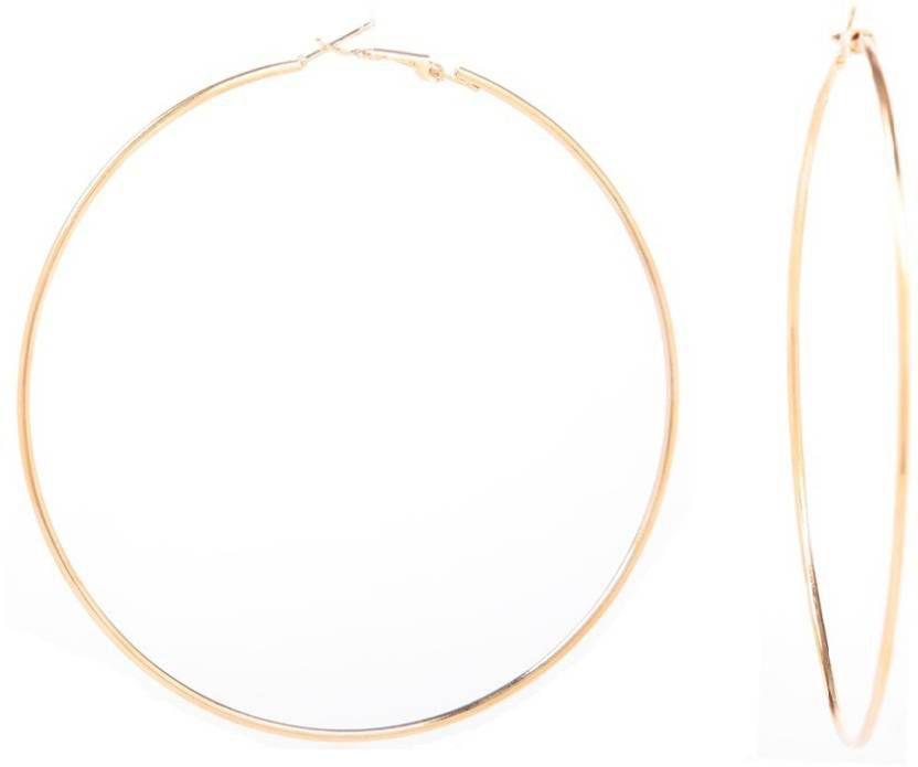 GoldNera Goldy Pie Jumbo Size Alloy Hoop Earrings