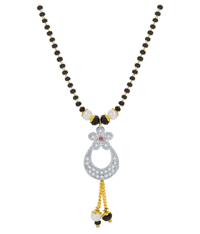 The Luxor Traditional Daily Party Festive Temple wear American Diamond and Plastic Beads Mangalsutra for Women