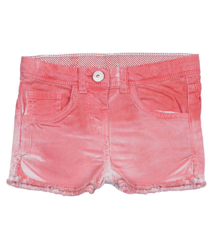 Tales & Stories Baby Girls Pink Denim Shorts