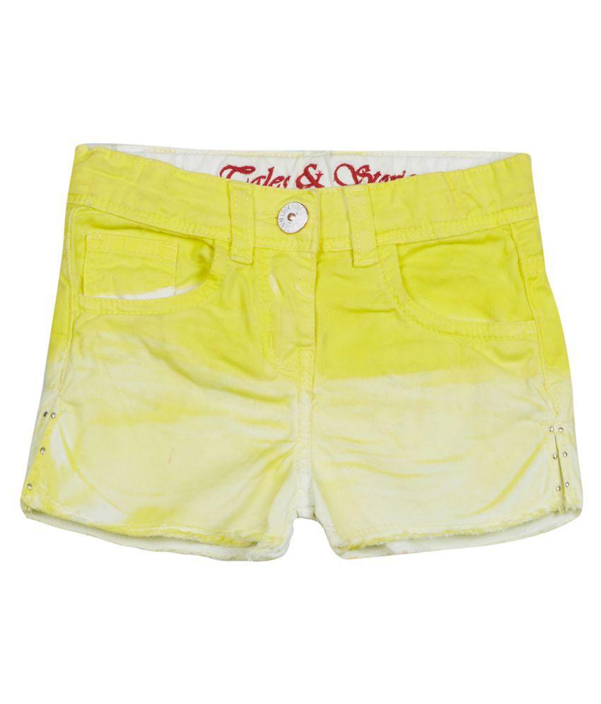 Tales & Stories Girls Yellow Denim Shorts