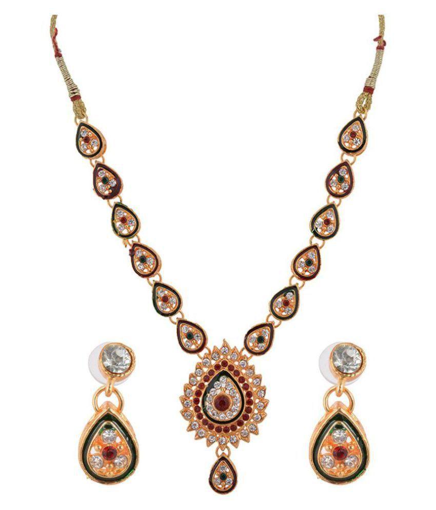 Vinayak Collection Kundan Brass Multicolour Necklace Set