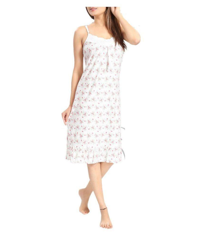 Florona Crepe Night Dress - Off White