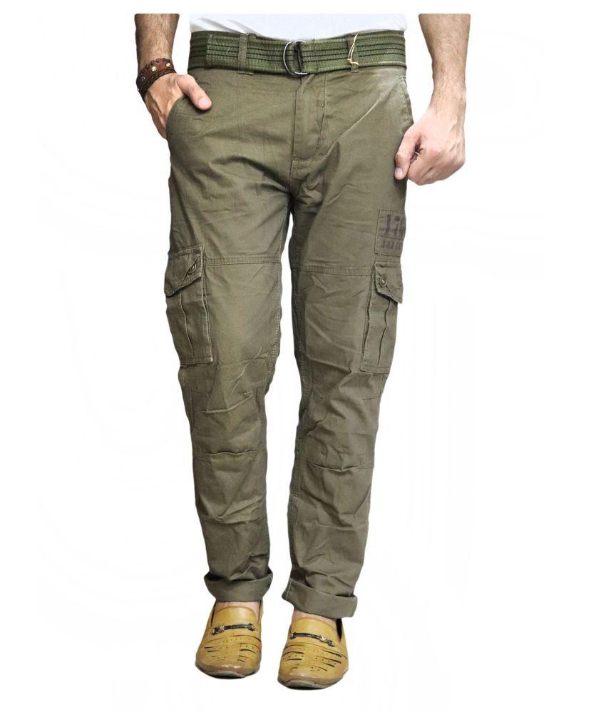POOL CLUB Green Loose -Fit Flat Cargos