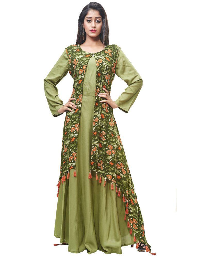 Fida Rayon Green Gown