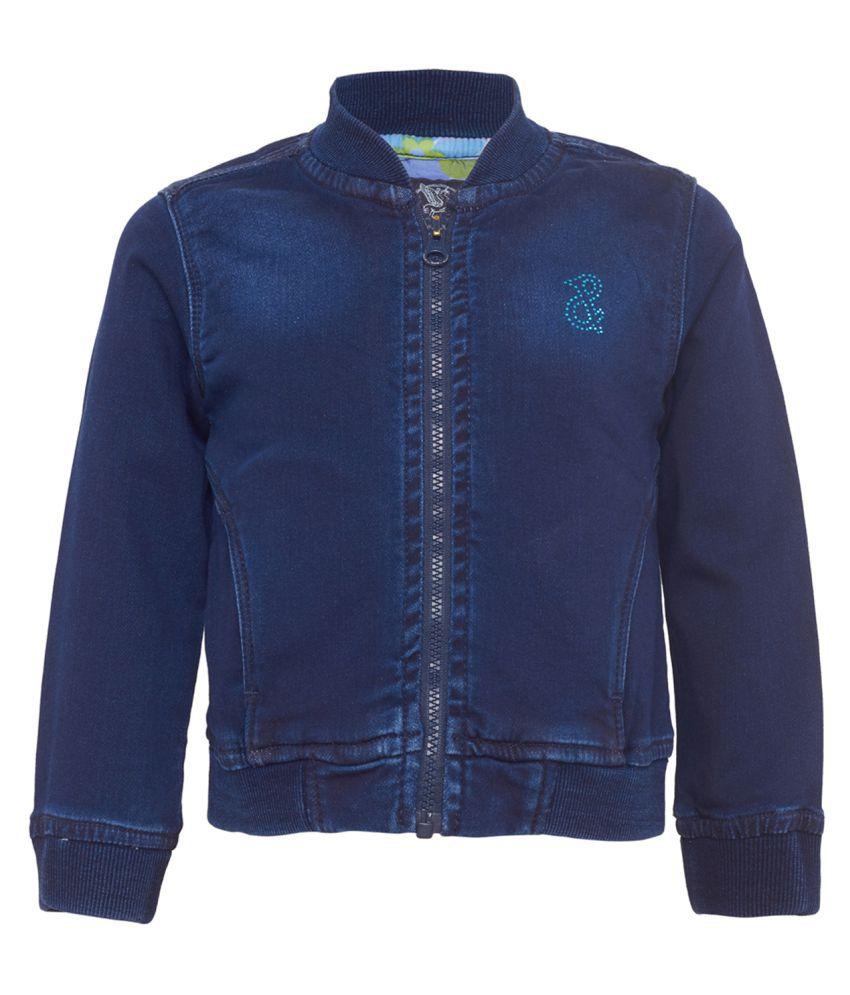 Tales & Stories Girls Blue Denim Full Sleeved Jacket