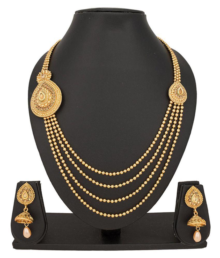 The Bandwagon Golden Diamond Studded Necklace Set NK-204