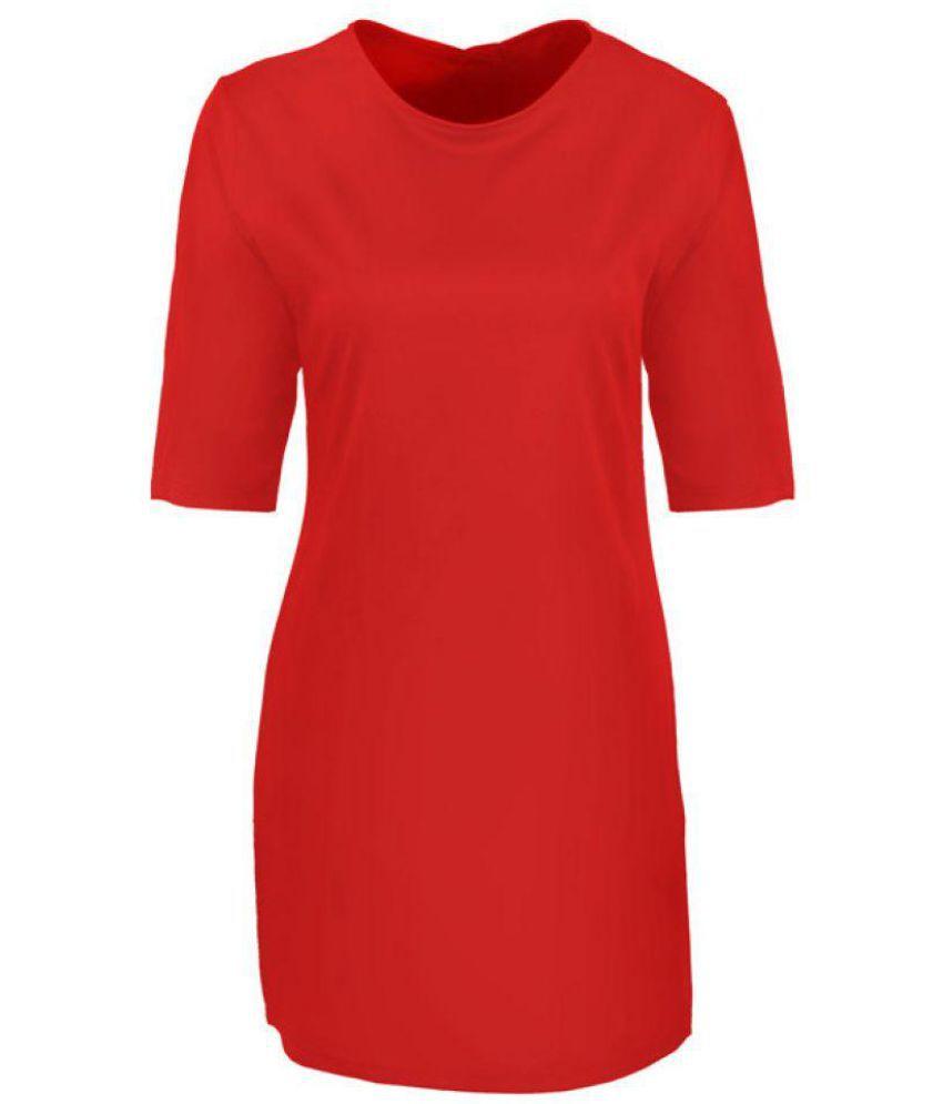 Aashish Garments Poly Crepe Red Regular
