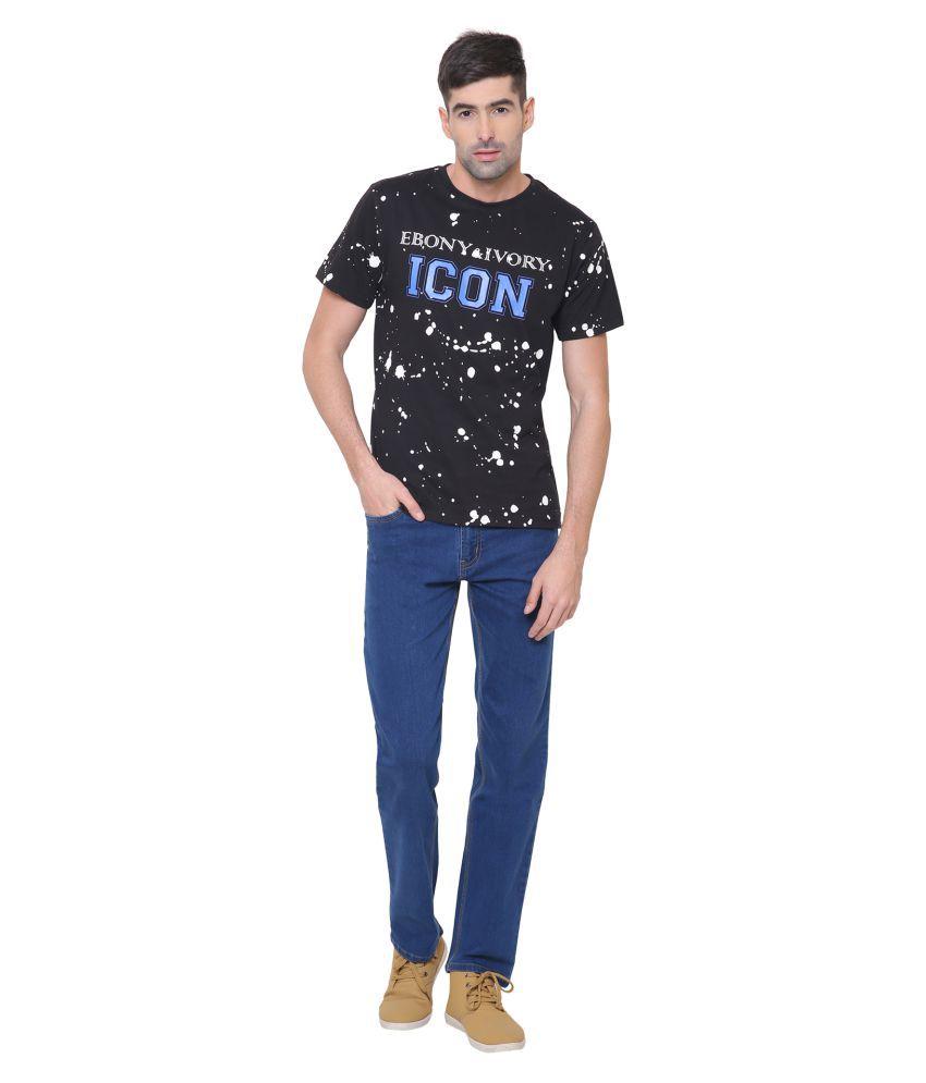 EBONY & IVORY Black Round T-Shirt Pack of 1