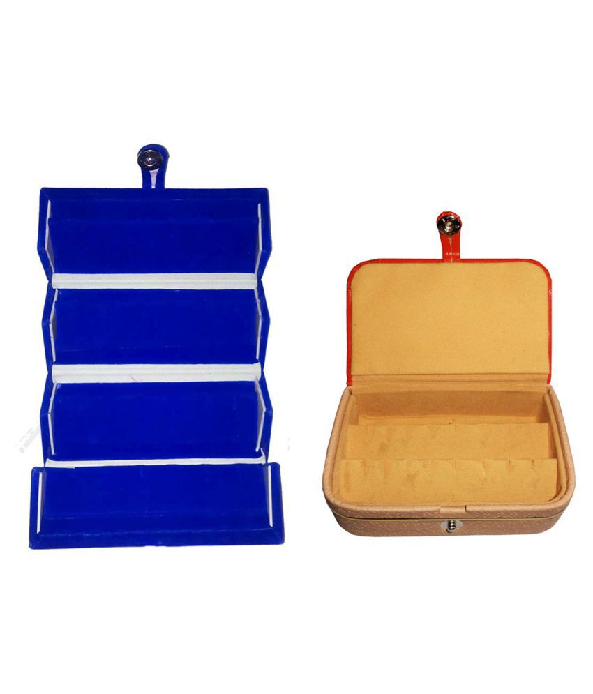 Sarohi Combo 1 pc blue earring folder and 1 pc ear ring box vanity case