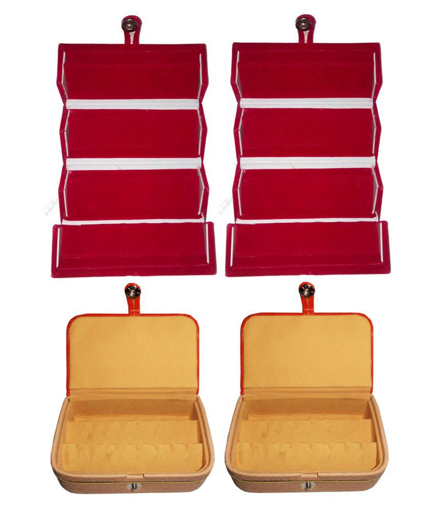 Sarohi Combo 2 pc red earring folder and 2 pc ear ring box vanity case