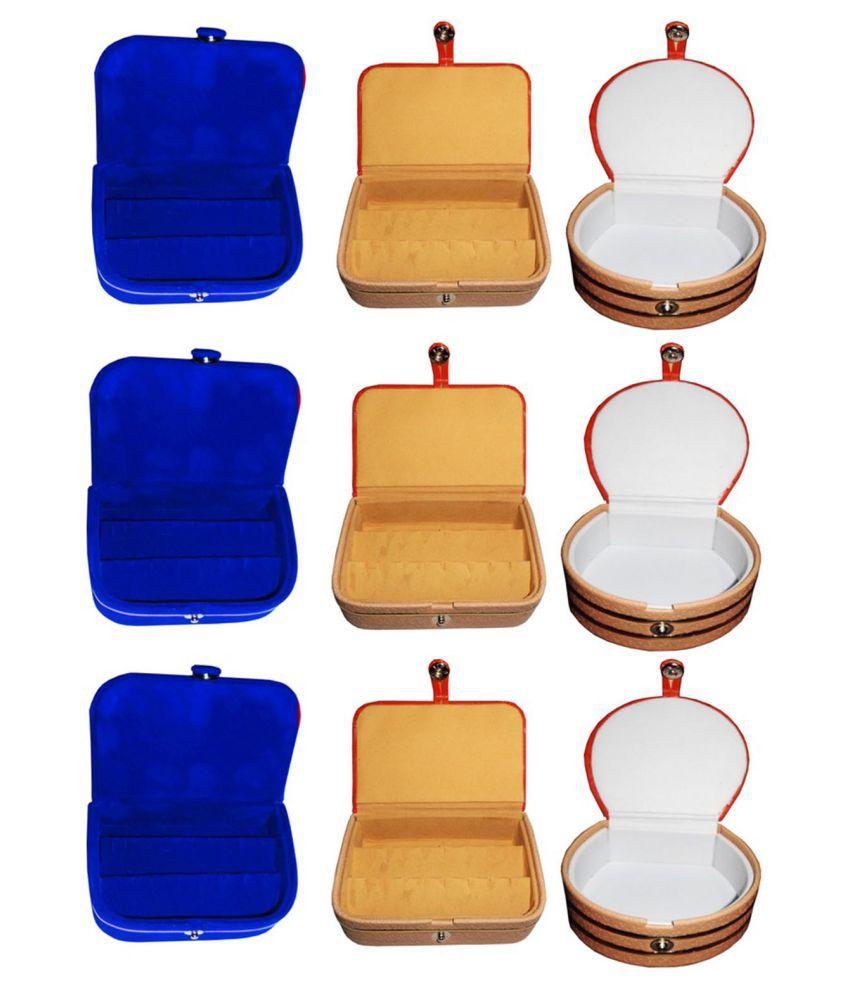 Sarohi Combo 3 pc  earring box 3 pc blue ear ring folder 3 pc bangle box jewelry vanity case
