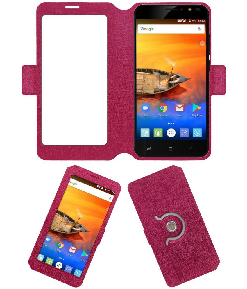 new styles 4a4e5 e435b iVoomi Me3 Flip Cover by ACM - Pink