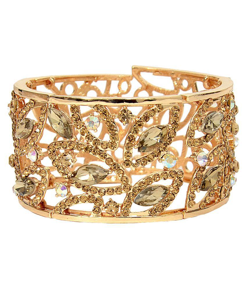 Mansiyaorange Adjustable Broad Korean Austrian Crystal AAA Rhinestone Golden  Cuff/Kadda Bangle Bracelet For Women