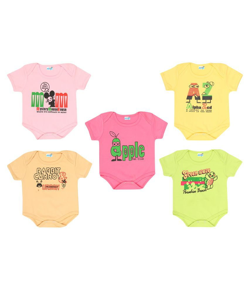 Dongli Unisex Soft Cotton Baby Bodysuits (Pack of 5)