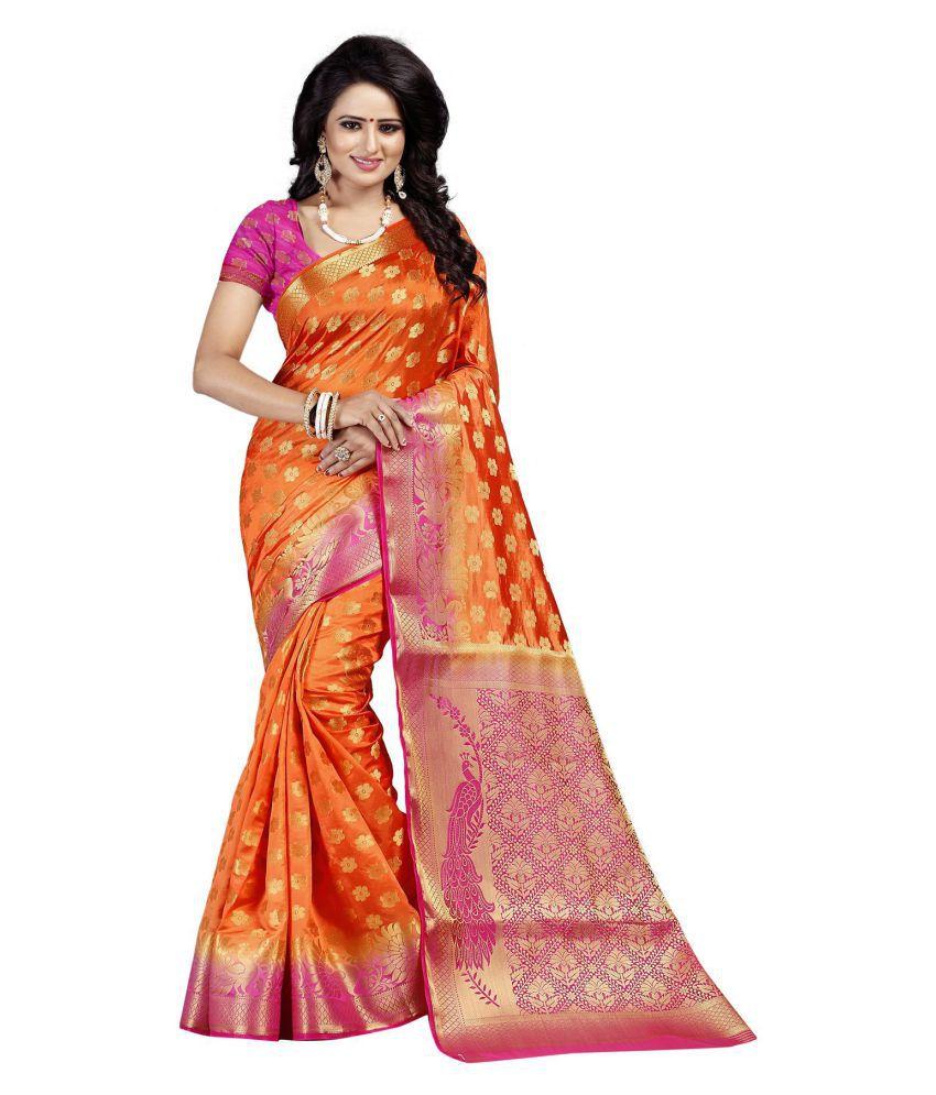 Wedding Villa Red and Orange Silk Saree