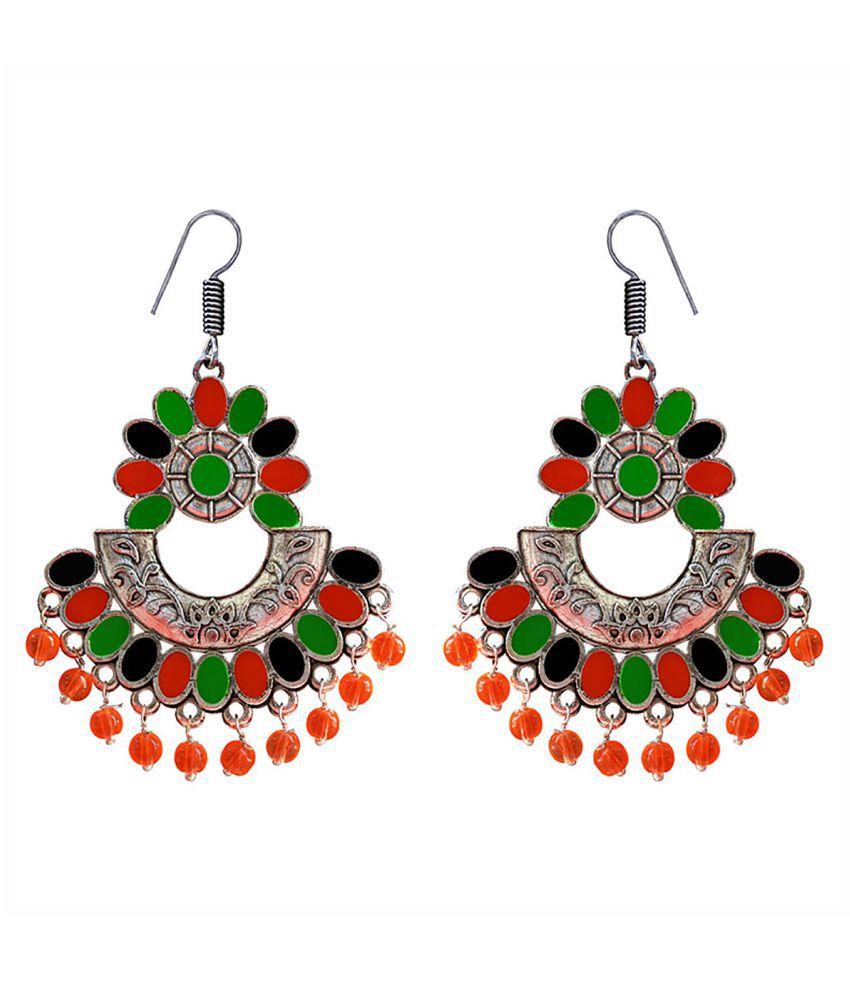 Meenakari Silver plated afghani chand bali jhumki earrings