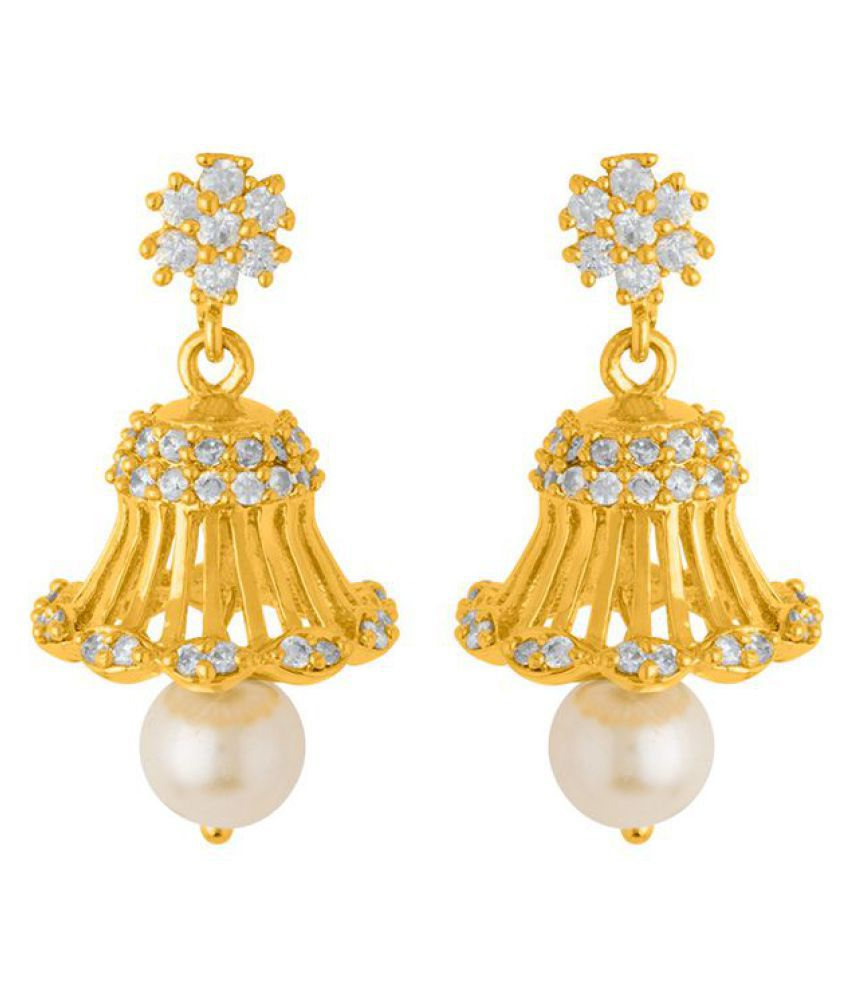 Voylla Ethnic Drop Earrings with Lovely White Pearls