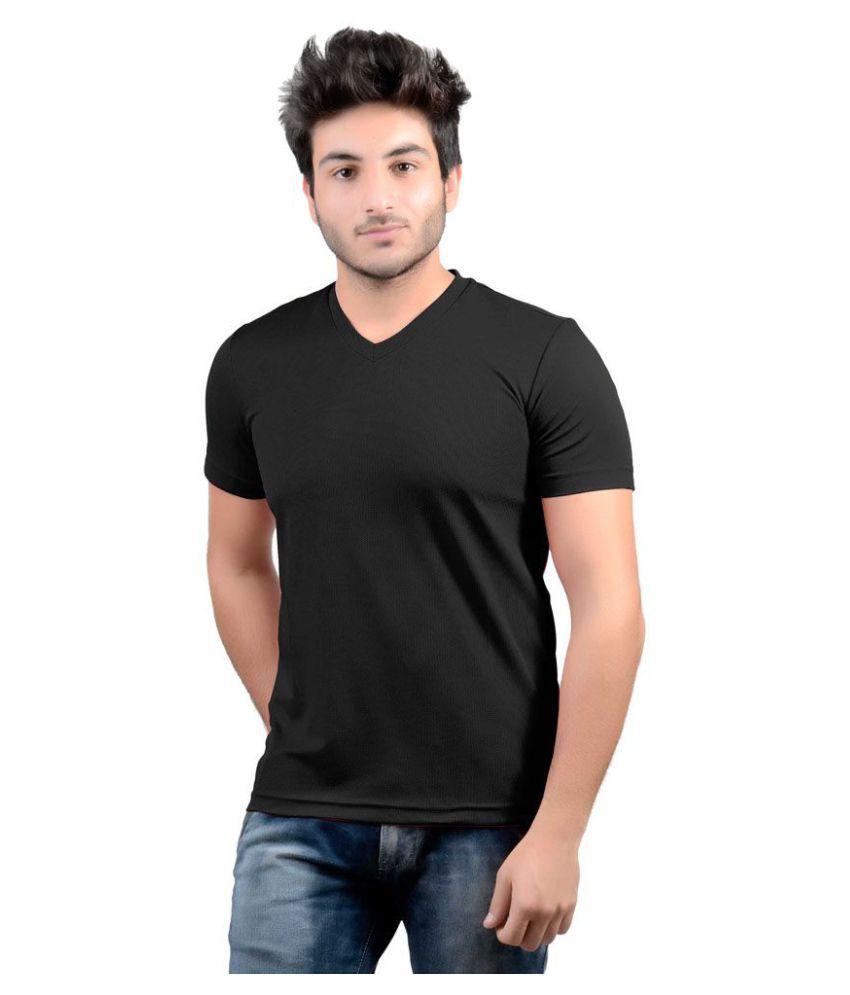 DS WORLD Black V-Neck T-Shirt Pack of 1