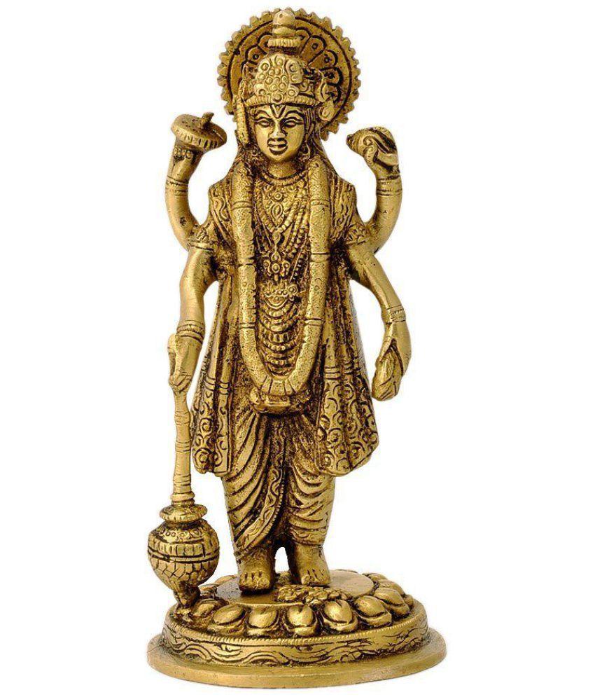 0c40083dd78 Kartique Standing Lord Vishnu Holding Club Brass Statue n  Buy ...