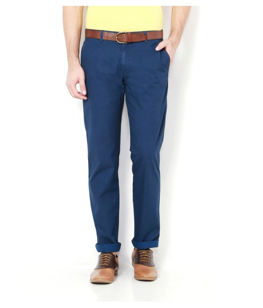 Allen Solly Blue Slim -Fit Flat Trousers