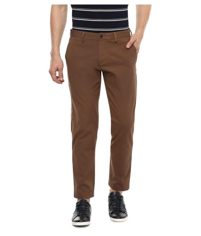Allen Solly Brown Regular -Fit Flat Trousers