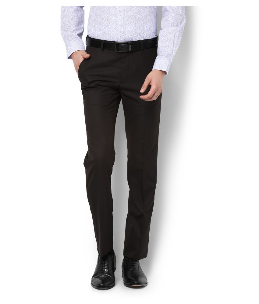 Allen Solly Brown Slim -Fit Flat Trousers